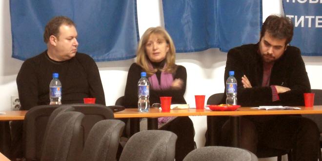 Okupljanje nove levice: Branislav Markuš (Zrenjaninski socijalni forum), Gordana Stojaković (S.T.R.I.K.E.), Vuk Vuković (Gerusija)